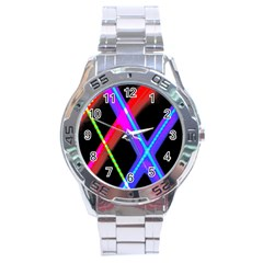 Xmas Light Paintings Stainless Steel Analogue Watch by Celenk