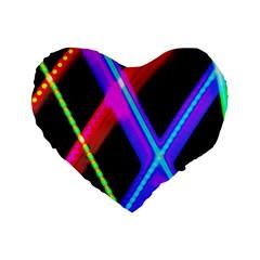 Xmas Light Paintings Standard 16  Premium Flano Heart Shape Cushions by Celenk