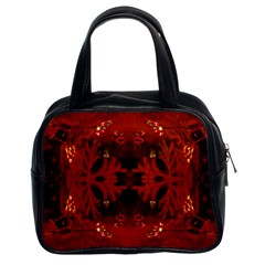 Red Abstract Classic Handbags (2 Sides) by Celenk