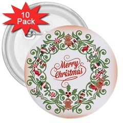 Merry Christmas Wreath 3  Buttons (10 Pack)  by Celenk