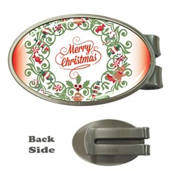 Merry Christmas Wreath Money Clips (oval)  by Celenk