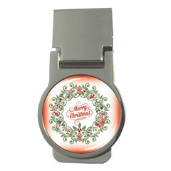 Merry Christmas Wreath Money Clips (round)  by Celenk