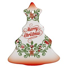 Merry Christmas Wreath Christmas Tree Ornament (two Sides) by Celenk