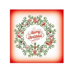 Merry Christmas Wreath Small Satin Scarf (square) by Celenk