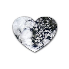 Earth Right Now Rubber Coaster (heart)  by Celenk
