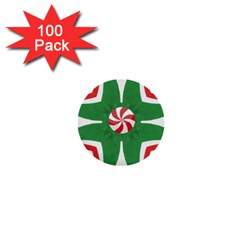 Candy Cane Kaleidoscope 1  Mini Buttons (100 Pack)  by Celenk