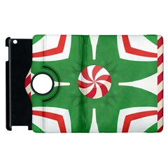 Candy Cane Kaleidoscope Apple Ipad 3/4 Flip 360 Case by Celenk