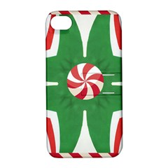 Candy Cane Kaleidoscope Apple Iphone 4/4s Hardshell Case With Stand by Celenk
