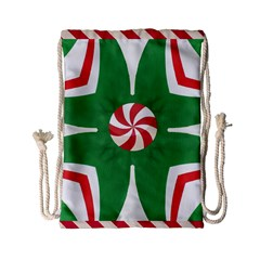 Candy Cane Kaleidoscope Drawstring Bag (small) by Celenk