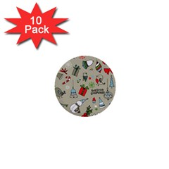 Beautiful Design Christmas Seamless Pattern 1  Mini Buttons (10 Pack)  by Celenk