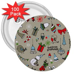 Beautiful Design Christmas Seamless Pattern 3  Buttons (100 Pack)  by Celenk