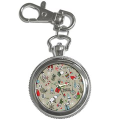 Beautiful Design Christmas Seamless Pattern Key Chain Watches by Celenk