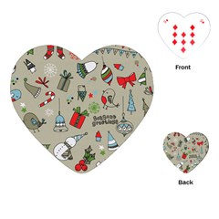 Beautiful Design Christmas Seamless Pattern Playing Cards (heart)  by Celenk