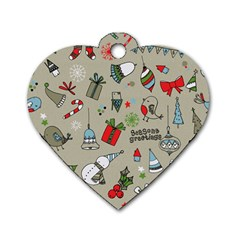 Beautiful Design Christmas Seamless Pattern Dog Tag Heart (two Sides) by Celenk
