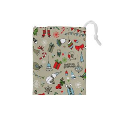 Beautiful Design Christmas Seamless Pattern Drawstring Pouches (small)  by Celenk
