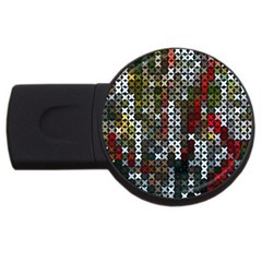 Christmas Cross Stitch Background Usb Flash Drive Round (2 Gb) by Celenk