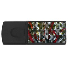 Christmas Cross Stitch Background Rectangular Usb Flash Drive by Celenk