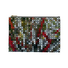 Christmas Cross Stitch Background Cosmetic Bag (large)  by Celenk