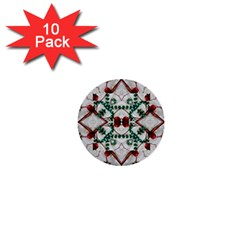 Christmas Paper 1  Mini Buttons (10 Pack)  by Celenk