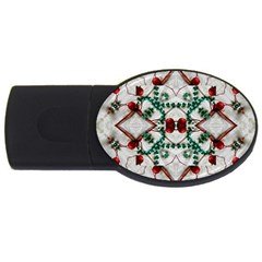 Christmas Paper Usb Flash Drive Oval (4 Gb) by Celenk