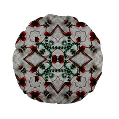 Christmas Paper Standard 15  Premium Flano Round Cushions by Celenk