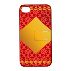 Christmas Card Pattern Background Apple Iphone 4/4s Hardshell Case With Stand by Celenk