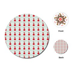 At On Christmas Present Background Playing Cards (round)  by Celenk