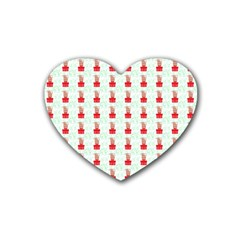 At On Christmas Present Background Rubber Coaster (heart)  by Celenk