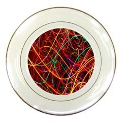 Wave Behaviors Porcelain Plates by Celenk