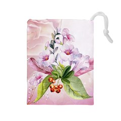 Wonderful Flowers, Soft Colors, Watercolor Drawstring Pouches (large)  by FantasyWorld7