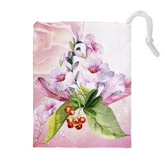 Wonderful Flowers, Soft Colors, Watercolor Drawstring Pouches (extra Large) by FantasyWorld7
