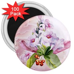 Wonderful Flowers, Soft Colors, Watercolor 3  Magnets (100 Pack) by FantasyWorld7