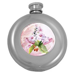 Wonderful Flowers, Soft Colors, Watercolor Round Hip Flask (5 Oz) by FantasyWorld7