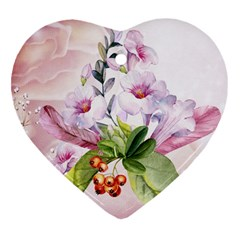 Wonderful Flowers, Soft Colors, Watercolor Heart Ornament (two Sides) by FantasyWorld7