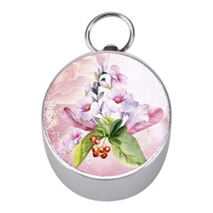 Wonderful Flowers, Soft Colors, Watercolor Mini Silver Compasses by FantasyWorld7