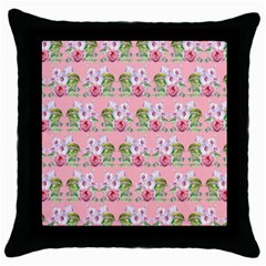 Floral Pattern Throw Pillow Case (black) by SuperPatterns
