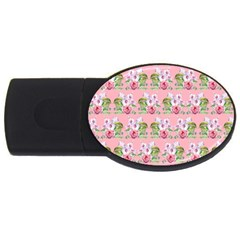 Floral Pattern Usb Flash Drive Oval (4 Gb) by SuperPatterns