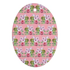 Floral Pattern Oval Ornament (two Sides) by SuperPatterns