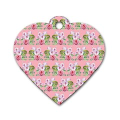 Floral Pattern Dog Tag Heart (two Sides) by SuperPatterns