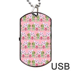 Floral Pattern Dog Tag Usb Flash (one Side) by SuperPatterns
