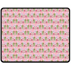 Floral Pattern Double Sided Fleece Blanket (medium)  by SuperPatterns