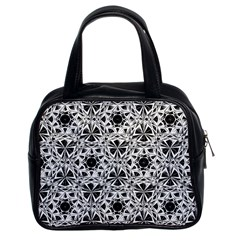 Star Crystal Black White 1 And 2 Classic Handbags (2 Sides) by Cveti