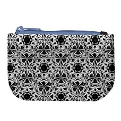 Star Crystal Black White 1 And 2 Large Coin Purse by Cveti