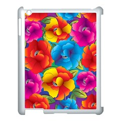 Neon Colored Floral Pattern Apple Ipad 3/4 Case (white) by allthingseveryday