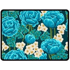 Light Blue Roses And Daisys Fleece Blanket (large)  by allthingseveryday