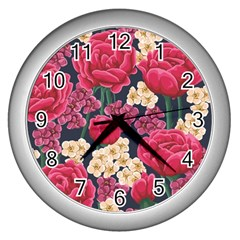 Pink Roses And Daisies Wall Clocks (silver)  by teambridelasvegas