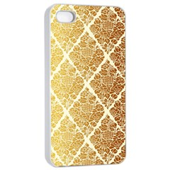 Vintage,gold,damask,floral,pattern,elegant,chic,beautiful,victorian,modern,trendy Apple Iphone 4/4s Seamless Case (white) by 8fugoso