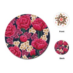 Pink Roses And Daisies Playing Cards (round)  by allthingseveryday