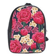Pink Roses And Daisies School Bag (large)
