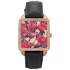 Pink Roses And Daisies Rose Gold Leather Watch
